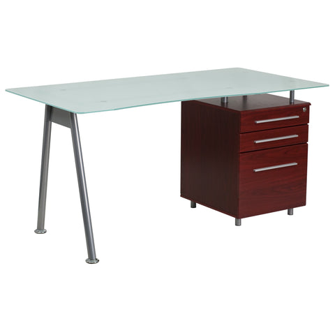 This Mahogany Computer Desk combines glass and mahogany wood for a contemporary look.The desk features a beveled desktop made from frosted tempered glass and an accenting silver powder coated frame. A mahogany, three drawer pedestal with handsome silver bar pulls keeps your paperwork organized while you're working and secure when you're away. The top drawer locks with a key. Self-leveling floor glides keep the desk from wobbling on uneven floor surfaces and protect your floor by sliding easily when you want