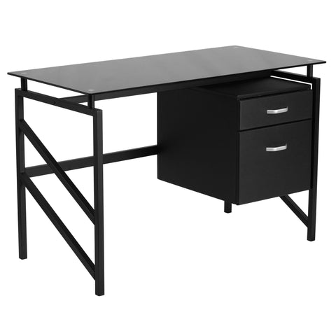 This glass desk features a tempered black glass surface and a hanging box/file pedestal to store files and other materials. Investing in a desk for your home makes working from home or managing household bills and paperwork a nicer experience.