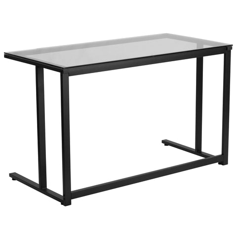 This contemporary desk offers a sleek design for managing daily household bills or for casual computer usage. This desk features an attractive black pedestal frame.
