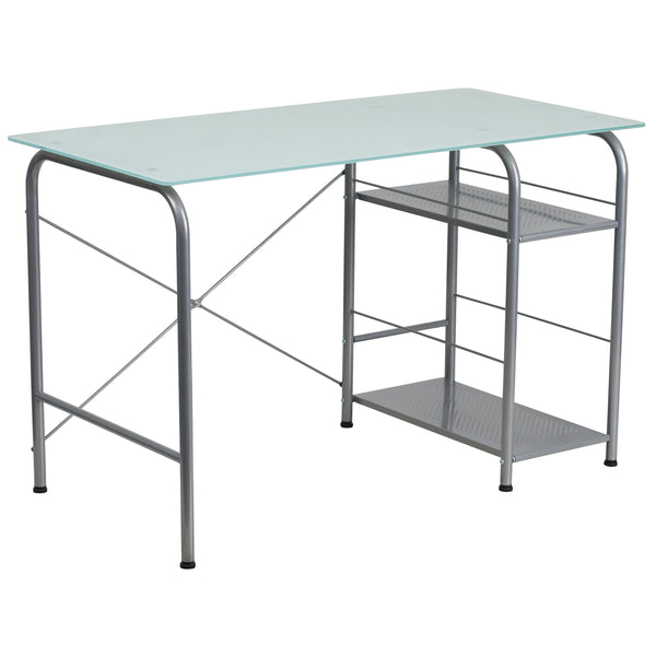 This computer desk features a glass work surface and open storage for your CPU and other materials. Investing in a desk for your home makes working from home or managing household bills and paperwork a nicer experience.