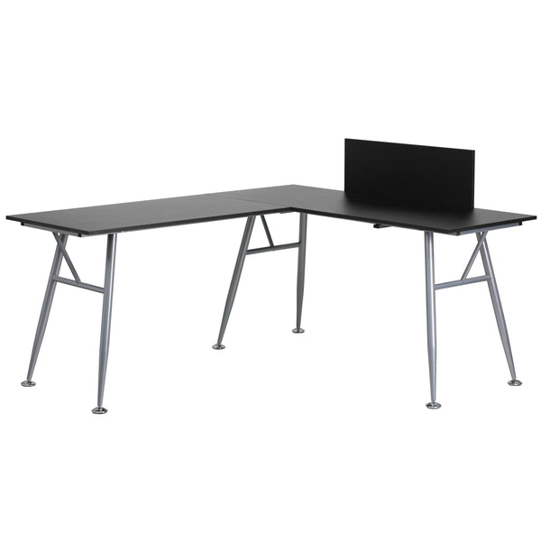 This l-shape computer desk provides a perfect solution when needing a larger workspace. This desk features a spacious laminate top with a privacy board. Investing in a desk for your home makes working from home or managing household bills and paperwork a nicer experience.