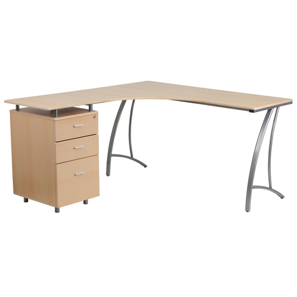 This l-shaped computer desk is a great option when needing to fill a larger workspace. This desk features a box/box/file pedestal to store files and other materials. Top drawer has a locking system that locks all three drawers to keep private information safe. Investing in a desk for your home makes working from home or managing household bills and paperwork a nicer experience. The overall design of this desk and its attractively styled legs is perfect for any modern space.