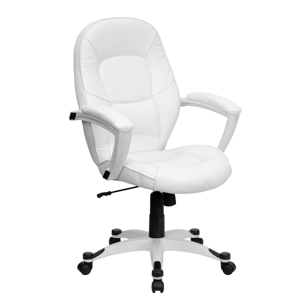 Set yourself apart from the masses with the typical black upholstered chair and make a statement with this appealing executive office chair, upholstered in soft white leather. High back office chairs have backs extending to the upper back for greater support. The high back design relieves tension in the lower back, preventing long term strain. The waterfall front seat edge removes pressure from the lower legs and improves circulation. Chair easily swivels 360 degrees to get the maximum use of your workspace
