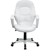 Mid-Back White Leather Executive Swivel Chair with Arms - OfficeChairCity.com