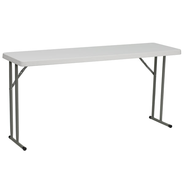 This rectangular folding table is 5 feet long and is beneficial in a multitude of settings that include the classroom, banquet halls and in training rooms. The space saving design can allow multiple tables in a small to large setting making it the perfect training style table for the classroom or any training facility. The durable blow molded top is low maintenance and cleans easily. The table legs fold under the table to make storage more convenient and for better portability.