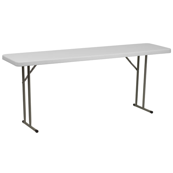 This rectangular folding table is 6 feet long and is beneficial in a multitude of settings that include the classroom, banquet halls and in training rooms. The space saving design can allow multiple tables in a small to large setting making it the perfect training style table for the classroom or any training facility. The durable blow molded top is low maintenance and cleans easily. The table legs fold under the table to make storage more convenient and for better portability.