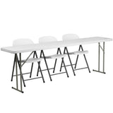 This folding table set will get you started with furnishing your training room. Creating an inviting and comfortable arrangement for your trainees and guests can help you meet your goals for success. This set includes a durable stain resistant plastic folding table and complementary chairs. This setup can be used as a permanent arrangement or easily be stored away for occasional usage. So take the guess work out of piecing together a table set with this 4 piece table setup.