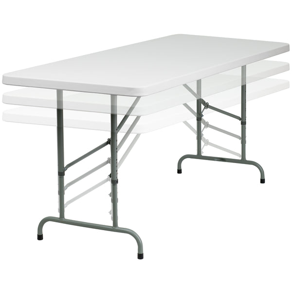 This rectangular folding table is 6 feet long and is beneficial in a multitude of settings that include banquet halls, conference centers, cafeterias, schools and in the home. The table can be used as a temporary seating solution or be setup for everyday use. This table is also height adjustable to conform to a range of users. The durable blow molded top is low maintenance and cleans easily. The table legs fold under the table to make storage more convenient and for better portability. This table is commerc