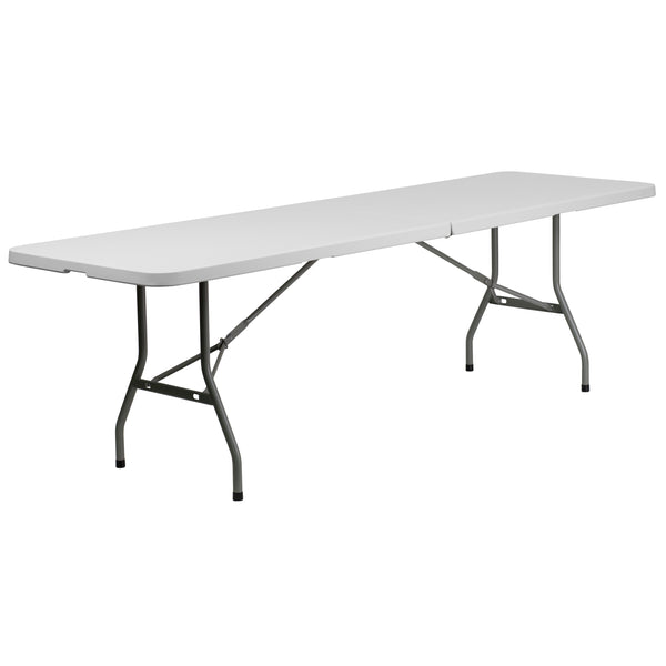 This rectangular folding table is 8 feet long and is beneficial in a multitude of settings that include banquet halls, conference centers, cafeterias, schools and in the home. The table can be used as a temporary seating solution or be setup for everyday use. The bi-fold feature folds the table in half the size and includes a carrying handle for easy transport. The durable blow molded top is low maintenance and cleans easily. The table legs fold under the table to make storage more convenient and for better