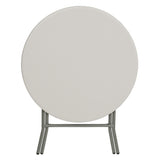 32'' Round Granite White Plastic Folding Table - OfficeChairCity.com