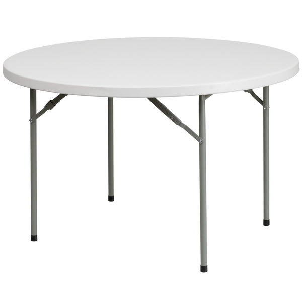 This round folding table is 4 feet long and is beneficial in a multitude of settings that include banquet halls, conference centers, cafeterias, schools and in the home. The table can be used as a temporary seating solution or be setup for everyday use. The durable blow molded top is low maintenance and cleans easily. The table legs fold under the table to make storage more convenient and for better portability. This table is commercial grade to withstand everyday use in the hospitality industry.