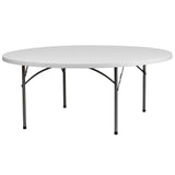 This round folding table is 6 feet long and is beneficial in a multitude of settings that include banquet halls, conference centers, cafeterias, schools and in the home. The table can be used as a temporary seating solution or be setup for everyday use. The durable blow molded top is low maintenance and cleans easily. The table legs fold under the table to make storage more convenient and for better portability. This table is commercial grade to withstand everyday use in the hospitality industry.