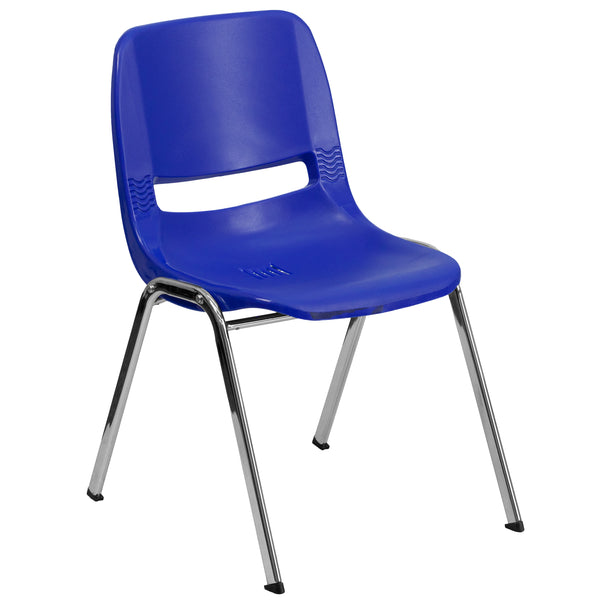 We consider this student stack chair to be the premier stack chair - essential for every school and classroom setting. This ergonomic stack chair provides a comfort-formed back and contoured waterfall seat set upon a durable metal frame. This versatile chair is ideal for both indoor and outdoor settings. With the ability to quickly store the chairs, it allows for the space to be used again for other purposes or when cleaning is needed. This heavy duty plastic stack chair is sturdy in construction to withsta