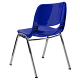 HERCULES Series 880 lb. Capacity Navy Ergonomic Shell Stack Chair with Chrome Frame and 18'' Seat Height - OfficeChairCity.com