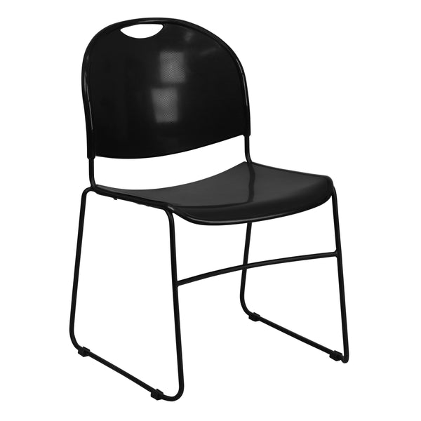 This indoor-outdoor stack chair will add distinctive style and surprising comfort to your office, home or outdoor dining area.The plastic seat and back are infused with a no-fade material to keep them looking good for years to come. The chair has an ergonomically contoured design to reinforce healthy posture, reducing back strain and muscle fatigue. It features a carrying handle cutout that makes it easy to move and stack these lightweight chairs up to 35-high to transport and store. A smooth powder coat fi