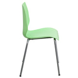 HERCULES Series 770 lb. Capacity Green Stack Chair with Lumbar Support and Silver Frame - OfficeChairCity.com