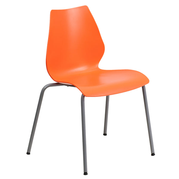 When in need of a space-saving seating solution that is either permanent or temporary, stack chairs have been proven to be beneficial. Stack chairs are a popular choice for many businesses that include hotels, schools, restaurants, cafeterias, and offices. This chair features a deep curved back to provide optimal comfort to the lumbar area. This versatile chair is ideal for both indoor and outdoor functions. With the ability to quickly store the chairs, it allows for the space to be used again for other pur