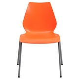 HERCULES Series 770 lb. Capacity Orange Stack Chair with Lumbar Support and Silver Frame - OfficeChairCity.com