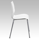 HERCULES Series 770 lb. Capacity White Stack Chair with Lumbar Support and Silver Frame - OfficeChairCity.com