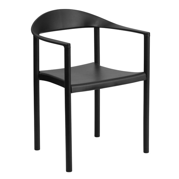 This cafe style chair will add value and offer an attractive presence to your cafe, diner, restaurant, banquet facility or in the home. This chair has a curvaceous back, seat and arms that is pleasing to the eye. This versatile chair is ideal for both indoor and outdoor functions. With the ability to quickly store the chairs, it allows for the space to be used again for other purposes or when cleaning is needed. This heavy duty plastic stack chair is sturdy in construction to withstand regular use and frequ