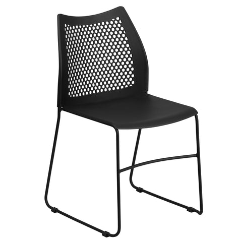When in need of a space-saving seating solution that is either permanent or temporary, stack chairs have been proven to be beneficial. Stack chairs are a popular choice for many businesses that include hotels, schools, restaurants, cafeterias, and offices. This chair features a perforated back to provide air flow to the lumbar area. This versatile chair is ideal for both indoor and outdoor functions. With the ability to quickly store the chairs, it allows for the space to be used again for other purposes or