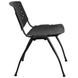 HERCULES Series 880 lb. Capacity Black Plastic Stack Chair with Titanium Frame - OfficeChairCity.com
