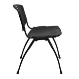 HERCULES Series 880 lb. Capacity Black Plastic Stack Chair with Black Frame - OfficeChairCity.com