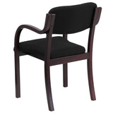 Contemporary Mahogany Wood Side Reception Chair with Arms and Black Fabric Seat - OfficeChairCity.com