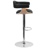 Beech Bentwood Adjustable Height Barstool with Black Vinyl Seat - OfficeChairCity.com
