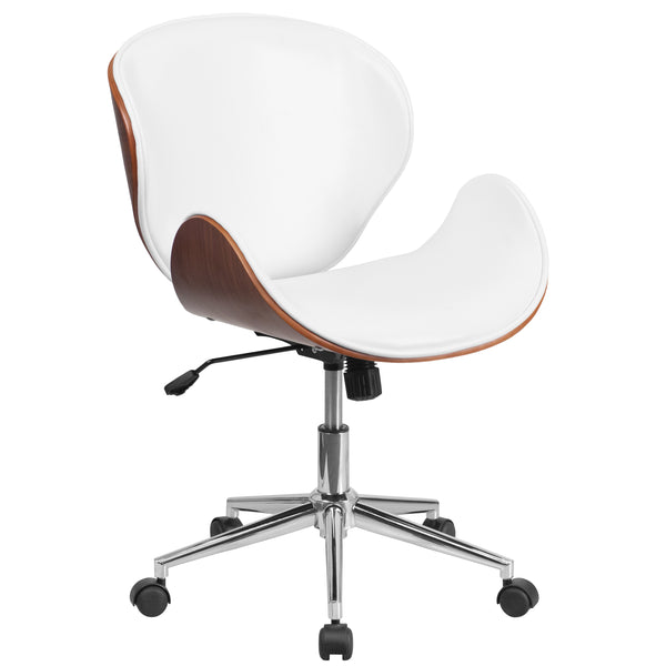 OfficeChairCity.com - Mid-Back Wood Swivel Conference Chair In Leather