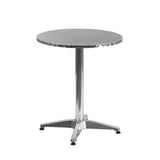 Create an enjoyable dining experience with this table that will enhance your bistro, cafe, restaurant, hotel or home patio space. The designer style stainless steel table top features a smooth surface for keeping items level. The column and base are constructed of lightweight aluminum material. The table was designed for all-weather use making it a great option for indoor and outdoor settings. For longevity, care should be taken to protect from long periods of wet weather. Whether you are just starting your
