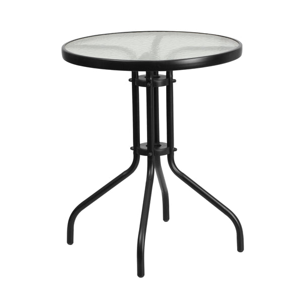 Create the perfect relaxing or entertainment environment with this patio table. This glass table will enhance your bistro, cafe, restaurant, hotel or home patio space. The ripple designed table top features a smooth surface for keeping items level. The table was designed for all-weather use making it a great option for indoor and outdoor settings. For longevity, care should be taken to protect from long periods of wet weather.