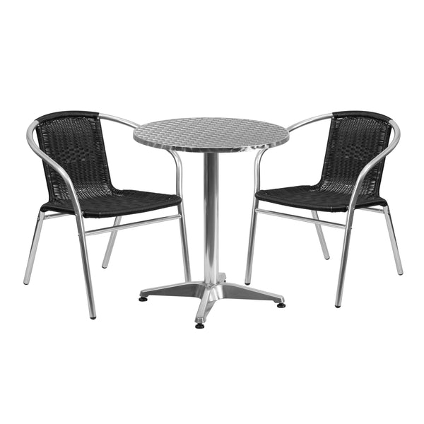 Create an enjoyable dining experience with this table set that will enhance your bistro, cafe, restaurant, hotel or home patio space. The designer style stainless steel table top features a smooth surface for keeping items level. The column and base are constructed of lightweight aluminum material. The chair is lightweight and easy to move and store. For easy storing and cleaning purposes these chairs stack up to 20 chairs high. This set was designed for all-weather use making it a great option for indoor a