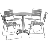 Create an enjoyable dining experience with this table set that will enhance your bistro, cafe, restaurant, hotel or home patio space. The designer style stainless steel table top features a smooth surface for keeping items level. The column and base are constructed of lightweight aluminum material. The chair features a smooth slotted design. For easy storing and cleaning purposes these chairs stack up to 40 chairs high. This set was designed for all-weather use making it a great option for indoor and outdoo