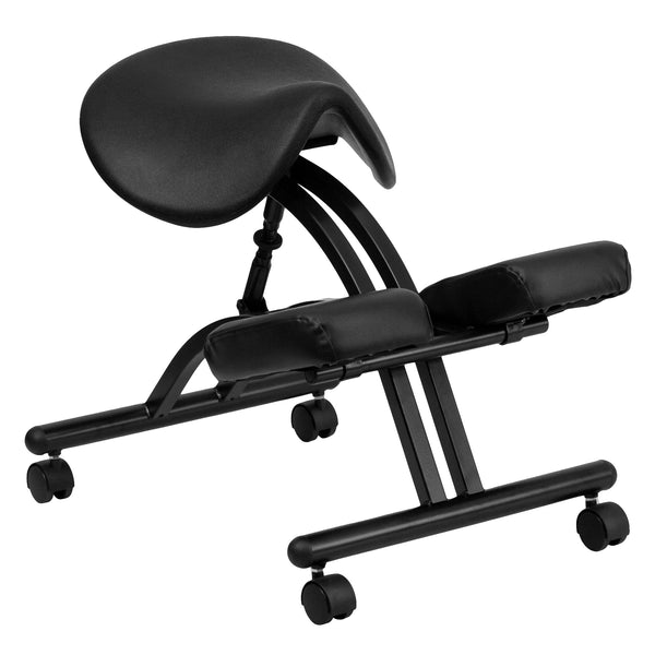 Reduce the pressure from long term sitting and choose an ergonomic kneeling chair that is both comfortable and healthy for your body. Kneeling chairs sit you in a position to allow your diaphragm to move efficiently and promote better breathing and blood circulation. The triangular saddle seat lowers the thighs, opens up the hips and positions the spine into a healthy curve. The frame is height adjustable to get into your preferred seat height. This chair can be used as a permanent office chair or used in c