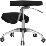 Mobile Ergonomic Kneeling Chair with Silver Frame in Black Fabric - OfficeChairCity.com