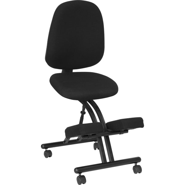 This ergonomic chair resembles the look of a conventional task chair, but with the inclusion of kneeling pads. You'll be able to regain your body's natural posture with this ergonomic kneeling chair with included back. Kneeling chairs sit you in a position to allow your diaphragm to move efficiently and promote better breathing and blood circulation. The frame is height adjustable to get into your preferred seat height. Use as your permanent office chair or in conjunction with a conventional task or executi