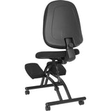 Mobile Ergonomic Kneeling Posture Chair with Back in Black Fabric - OfficeChairCity.com