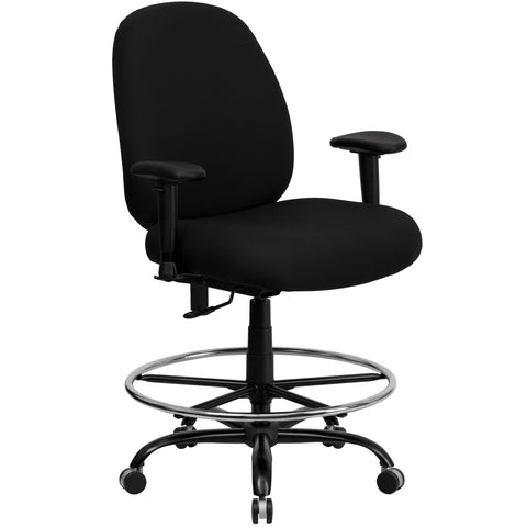 Big & Tall office chairs are designed to accommodate larger and taller body types. This chair has been tested to hold a capacity of up to 400 lbs., offering a broader seat and back width. The high back extends to the upper back for greater lumbar support. The locking back angle adjustment lever changes the angle of your torso to reduce disc pressure. This draft chair is essential for any profession where work surfaces are above standard height, such as lab technicians, architects, graphic artists, or any ot