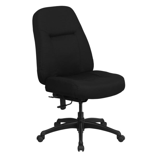 Finding a comfortable chair is essential when sitting for long periods at a time. Big & Tall office chairs are designed to accommodate larger and taller body types. This chair has been tested to hold a capacity of up to 400 lbs., offering a broader seat and back width. High back office chairs have backs extending to the upper back for greater support. The high back design relieves tension in the lower back, preventing long term strain. This office chair features plenty of thick, plush padding to provide gre