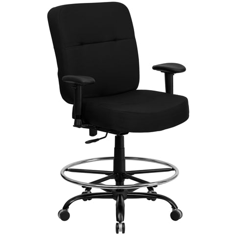 Big & Tall office chairs are designed to accommodate larger and taller body types. This chair has been tested to hold a capacity of up to 400 lbs., offering a broader seat and back width. The adjustable height back extends to the upper back for greater lumbar support. The locking back angle adjustment lever changes the angle of your torso to reduce disc pressure. This draft chair is essential for any profession where work surfaces are above standard height, such as lab technicians, architects, graphic artis
