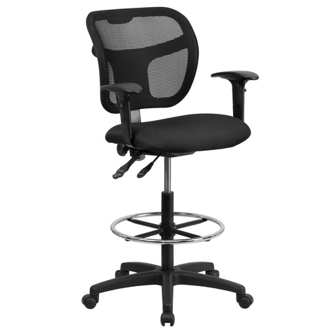 Draft chairs are essential for any profession where work surfaces are above standard height, such as lab technicians, architects, graphic artists, or any other creative assignment. They can also make a great chair for any job requiring employees to be at eye contact level with customers, such as receptionists or cashiers. The contoured backrest provides firm back support allowing your back to rest comfortably. The locking back angle adjustment lever changes the angle of your torso to reduce disc pressure. T