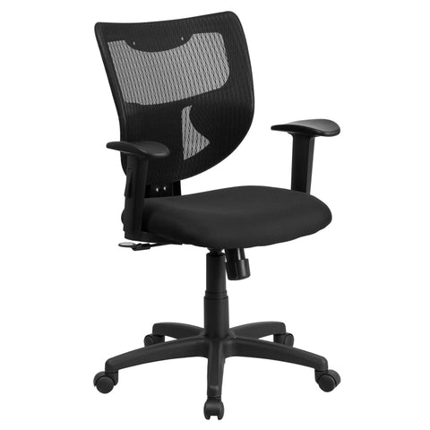 Mesh office chairs can keep you more productive throughout your work day with its comfort and ventilated design. The contoured, breathable mesh material allows air to circulate to keep you cool while sitting. The mid-back design offers support to the mid-to-upper back region. The synchro tilt control allows the chair's back and seat to recline at different rates, increasing the angle between your torso and thighs. The waterfall front seat edge removes pressure from the lower legs and improves circulation. C