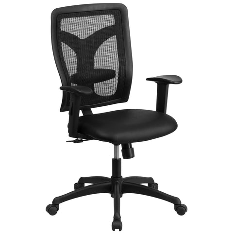 Mesh office chairs can keep you more productive throughout your work day with its comfort and ventilated design. The contoured, breathable mesh material allows air to circulate to keep you cool while sitting. The high back design relieves tension in the lower back, preventing long term strain. The synchro tilt control allows the chair's back and seat to recline at different rates, increasing the angle between your torso and thighs. The waterfall front seat edge removes pressure from the lower legs and impro