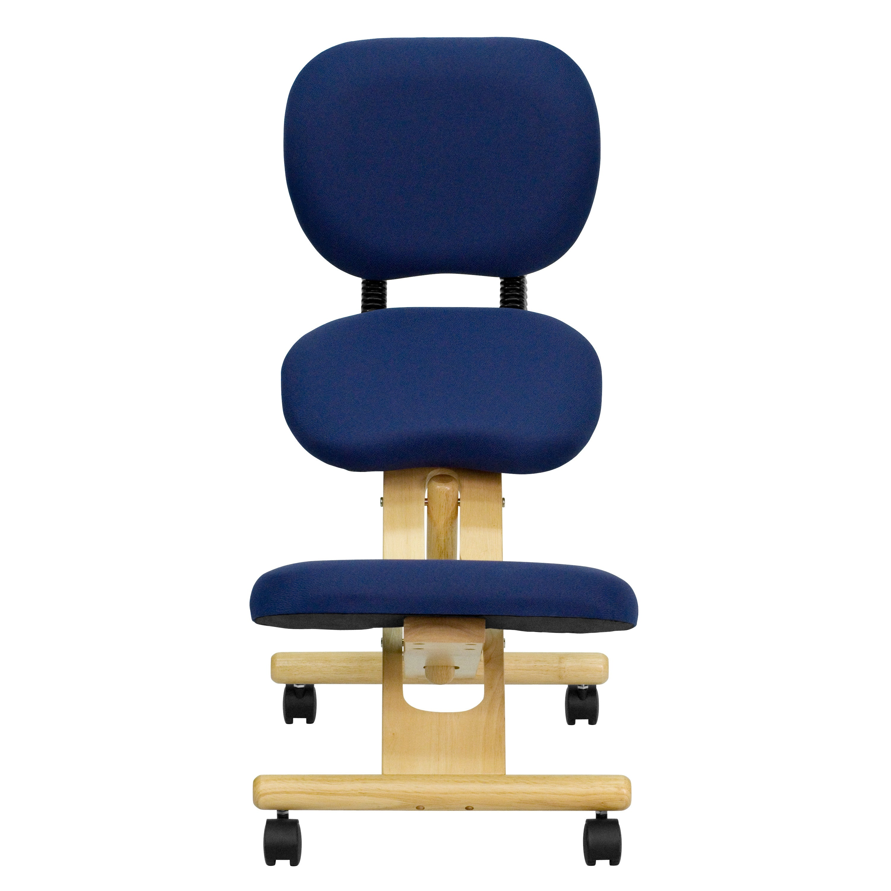 Band posture chair - Mobile Wooden Ergonomic Kneeling Posture Chair With Reclining Back In Navy Blue Fabric