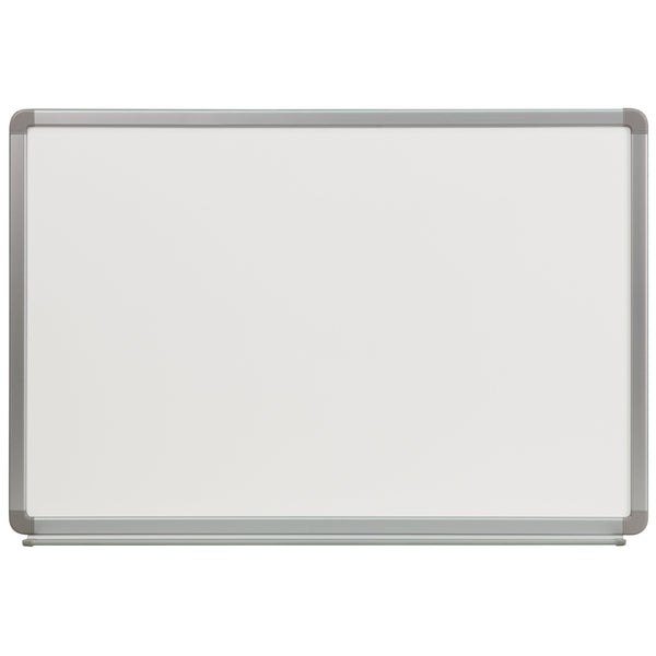 The dry erase board is perfect for classrooms, conference rooms, kid's playrooms, offices, scheduling, game night and a host of other activities. Dry erase boards offer a fun way to engage people. This marker board features a full length accessory tray that provides a specified space for markers and erasers. The accessory tray has rubber stoppers to prevent items from falling.