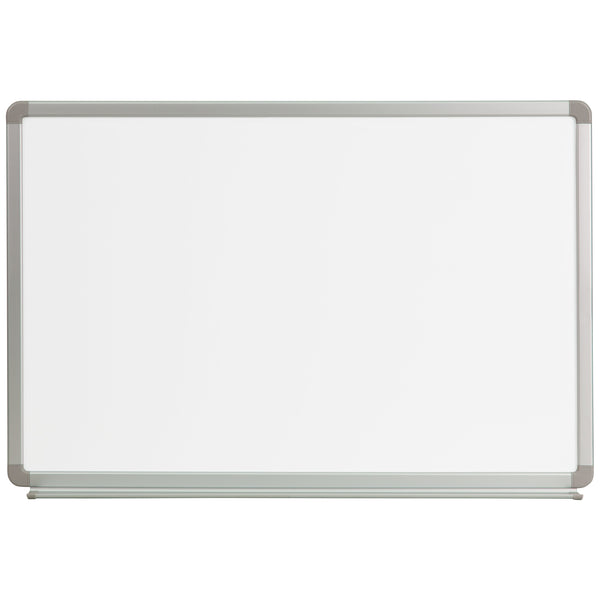 The dry erase board is perfect for classrooms, conference rooms, kid's playrooms, offices, scheduling, game night and a host of other activities. Dry erase boards offer a fun way to engage people. The white board surface resists scratching and erases easily without ghosting. This marker board features an accessory tray with rubber stopper for markers and erasers. The galvanized aluminum frame adds stability to last throughout the years.