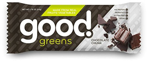 good! greens Gluten-Free Vegan Protein Bar, Chocolate Chunk, 12 Count