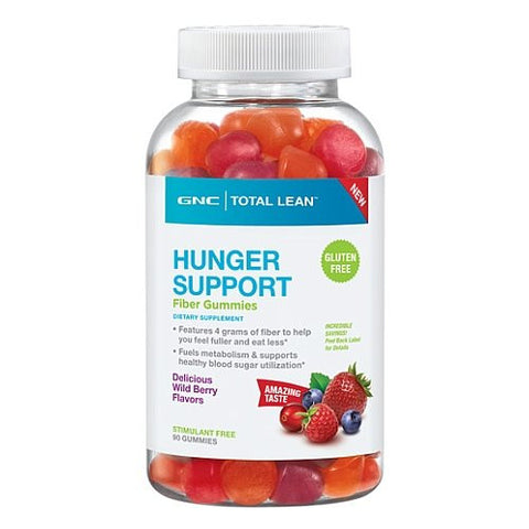GNC Total Lean Hunger Support Fiber Gummies - Delicious Wild Berry Flavor