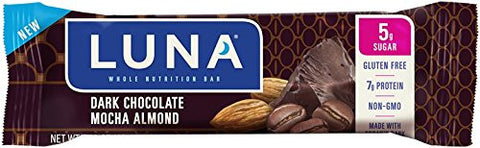 LUNA BAR - Gluten Free Bar - Dark Chocolate Mocha Almond - (1.48 Ounce Snack Bar, 12 Count)